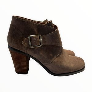 Lucky Brand Ankle Boots Brown Strap Buckle Detail